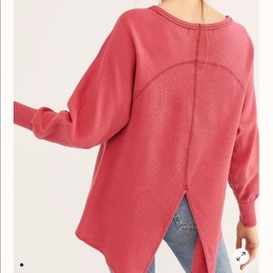NWT Free People Amelia pink thermal top Small